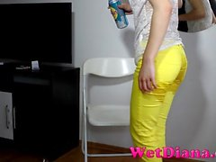 Wet Diana Yellow Pants Wetting