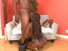 Cock sucking ebony babe gets creampie after riding black dick in sofa