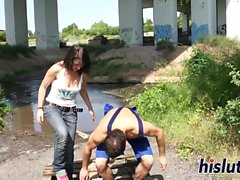 Sexy brunette gets banged in public