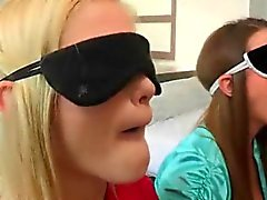 Blindfolded girls enjoy cock in mouth