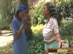 Hot ebony girl fucked by several white guys 22