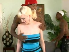 Nasty blonde babe double stuffed by enormous black dongs