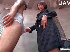 Jap in pantyhose footjobing