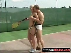 Babe enjoys fucking her man's ass after a game of tennis