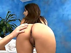 Hottie with round booty smashed hard in a massage room
