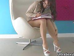 Cute secretary in hot heels showing part6