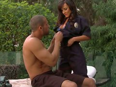 Buxom woman Lisa Ann in police uniform does oral job