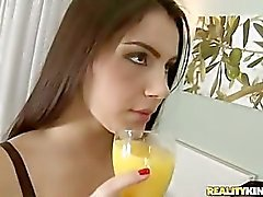 one hot girl fucks hard by two men