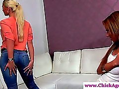 Blonde casting models strokes her pussy