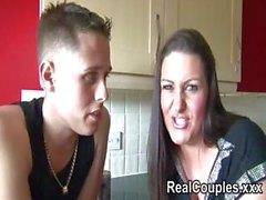Chubby brunette Dani and her boyfriend James interview and do a titty fuck show