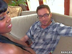 Maserati shows her enormous black Tits to white guy