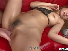 Saki is sucking on the dick and gets threesome fucked