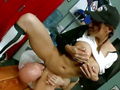 Baseball babe Devon Michaels gets cleaned by the coach