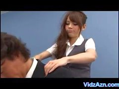 Asian Office Vibrator and Pussy Fondling