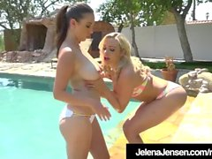 Busty Jelena Jensen & Mia Malkova Lesbo Bang On Pool Table!