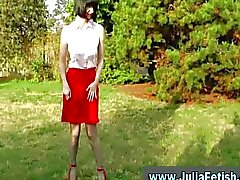 Horny mature stockings lady in the park