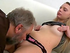 Adorable young sweetie enjoys rear fuck with old boy