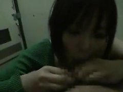 Lustful Japanese girl drops to her knees and works her lips