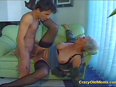 Crazy old mom gets big cock oral and in pussy deep