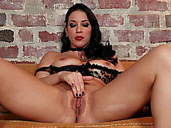 Breasty dark brown Jelena Jensen is fucking with her sextoy