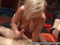 Mature teaches Jessica Lo how to get gangbanged