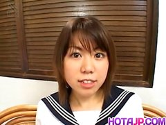 Ai Kazumi in school uniform sucks cock and gets banana in