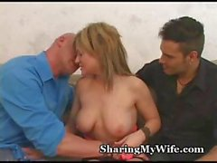 Hubby watches while his sexy blonde wife gets fucked by a stranger