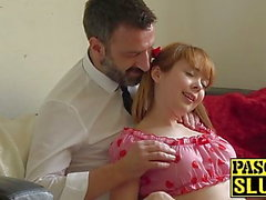 Redhead teen Cherry English face fucked before anal