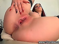 Nasty slut close up fuck creampie