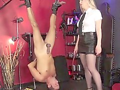 British domina whips sad subs cock