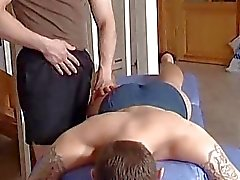 Dude sucking his massage therapists cock