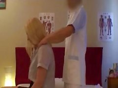 Blonde is getting a nice massage by Japanese masseuse and gets banged