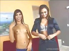 Latina mom and her sexy daughter share his cock in a threesome