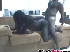 Black GF sucks cock and gets fucked hard