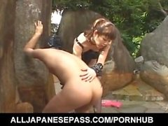 Tomoka Matsunami fucks man in mouth and ass with strap on outdoor
