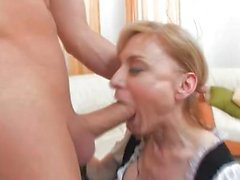 Naughty blonde maid in sexy uniform gets her snatch rammed