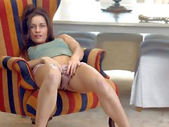 Small titted young chick Irina Bruni masturbates in panties