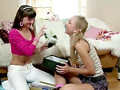 Two Lesbian Teens get her First Sex Together and Cum