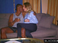 Sexy slut takes on the black monster cock interracial porn