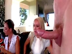 Group of femdom cfnm babes sucking on cock