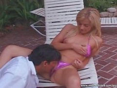 Blonde MILF gives sloppy head