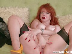 Empty your balls watching busty redhead finger fuck pussy in garter nylons leather pumps