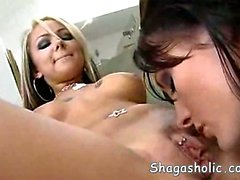 Alektra Blue and Julia Bond licking