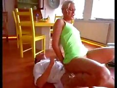 Cute blonde rides his cock and then sucks before fucking again