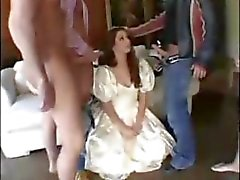 White princess gets a whole gang to pleasure her hungry holes
