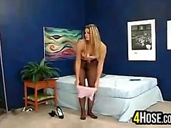 Blonde Slut Wearing Pantyhose
