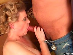 Granny in lust masturbates and gets fucked