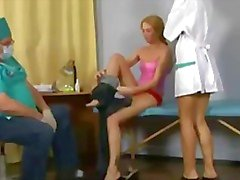 Sweet blonde teen passing through a very special gyno check