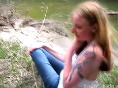 Jennifer Wanks Off Monica's Pussy In The Woods