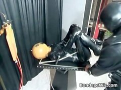 Kinky sex scene with a man in latex